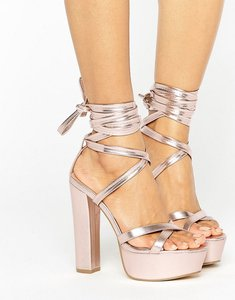 Read more about Truffle collection tie ankle platform heeled sandals - soft rose gold pu