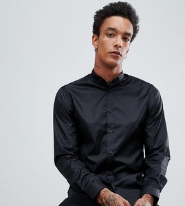 Read more about Heart dagger skinny shirt with grandad collar - black
