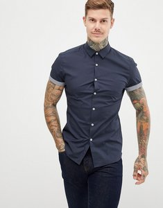 Read more about Asos design skinny shirt with printed turn up - navy