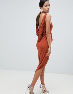 Read more about Asos design slinky drape back lace insert midi dress - rust