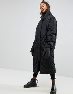 Read more about Asos longline puffer coat with detachable mittens - black