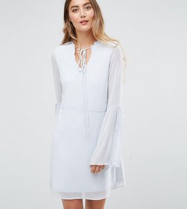 Read more about Vero moda tall tea dress with plisse fluted sleeve - halogen blue
