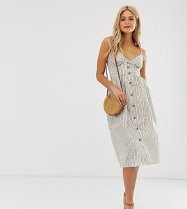 Read more about Influence tall button down cami strap sun dress in stripe