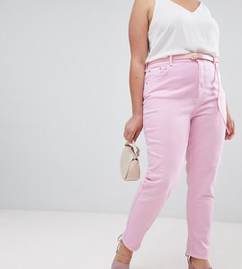 Read more about Asos design curve farleigh high waist mom jeans in washed pink with belt - pink