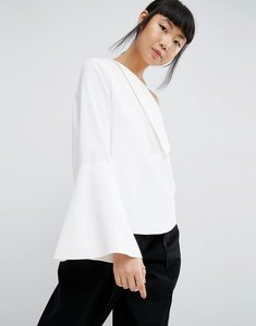 Read more about Asos white foldover detail top with wide sleeve - white