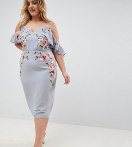 Read more about Asos design curve embroidered pencil dress with cold shoulder - pale blue