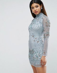 Read more about Asos red carpet long sleeve pearl mini dress - blue