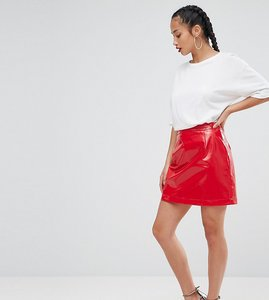 Read more about Asos petite vinyl a line mini skirt - red