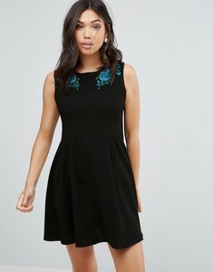 Read more about Hell bunny rose embroidered skater dress - black