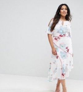 Read more about Coast plus la hune cold shoulder graphic floral print dress - multi