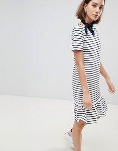Read more about People tree organic fairtrade cotton drop hem t-shirt dress in breton stripe - white navy stripe