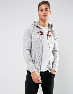 Read more about Hollister full zip hoodie tech logo in grey marl - grey marl bs1na30