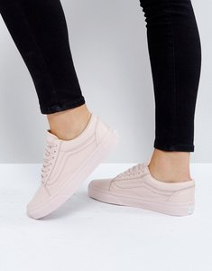 Read more about Vans old skool trainers in pastel pink mono leather - pink