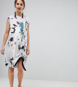 Read more about Asos maternity sleeveless ruched detail t-shirt dress in contemporary print - multi