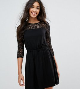 Read more about Asos tall mini smock dress with lace sleeves - black