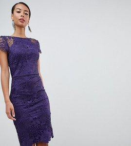 Read more about Paper dolls tall cap sleeve lace dress - plum