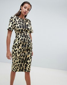 Read more about Asos design wiggle midi dress in leopard print - multi