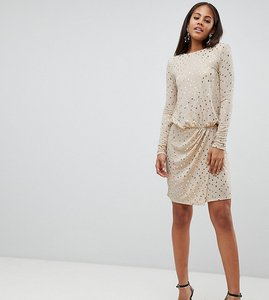 Read more about Flounce london tall sequin mini dress with shoulder pads - gold