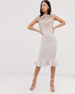 Read more about Chi chi london lace midi dress with peplum hem in grey