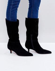 Read more about Asos carlita suede kitten heel knee boots - black