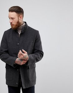 Read more about Process black funnel neck wool overcoat - grey