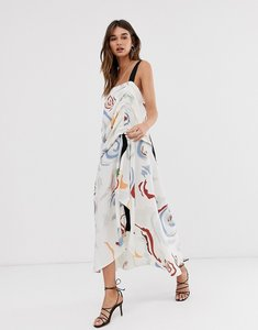 Read more about Asos design cross back maxi dress in abstract print