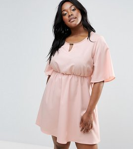 Read more about Rage plus dress with neck detail - pale pink
