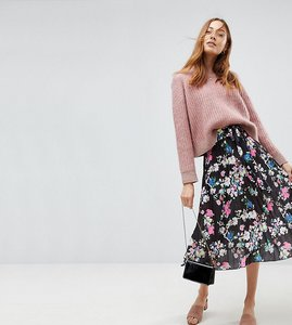 Read more about Asos tall pleated midi skirt with belt in print - multi