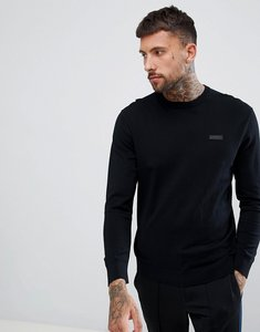 Read more about Hugo san claudio crew neck knitted jumper with chest logo in black - black