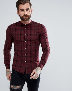 Read more about Asos skinny twill check shirt with grandad collar - burgundy