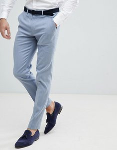 Read more about Asos wedding skinny suit trousers in blue linen - blue