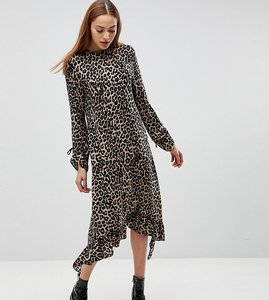 Read more about Asos tall soft trapeze midi dress with pep hem in leopard print - animal