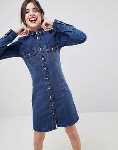 Read more about Esprit western style denim shirt dress - blue