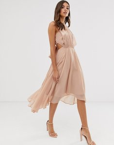 Read more about Asos design midi dress in satin and crepe with lace trim and tie waist
