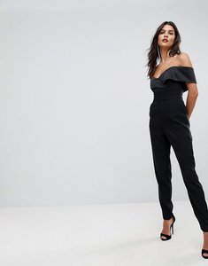 Read more about Lavish alice bardot tailored jumpsuit - black