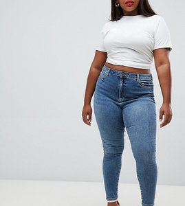 Read more about Asos design curve ridley high waist skinny jeans in extreme mid wash - mid wash blue