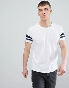 Read more about Esprit regular fit t-shirt in white with navy arm stripe - 100