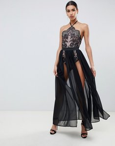 Read more about Rare london maxi dress with double splits and halter neck bodysuit underlay in black