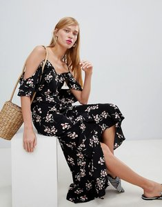 Read more about New look wrap cold shoulder maxi dress - black pattern