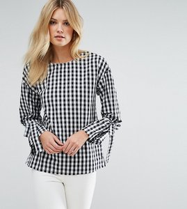 Read more about Missguided tall tie cuff brushed cotton blouse - gingham