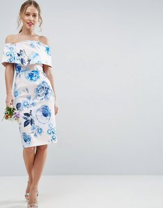 Read more about Asos wedding pink base floral structured midi pencil dress - multi