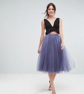 Read more about Little mistress tall midi tulle prom skirt - grey