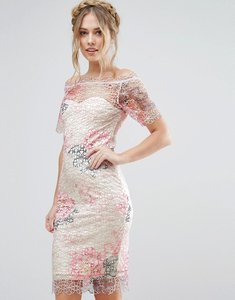 Read more about Paper dolls bardot midi crochet lace dress in floral - pink floral