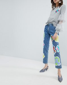 Read more about House of holland cross patch boyfriend jeans - blue
