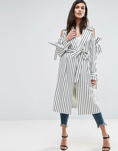 Read more about Asos draped coat in stripe with bows - multi