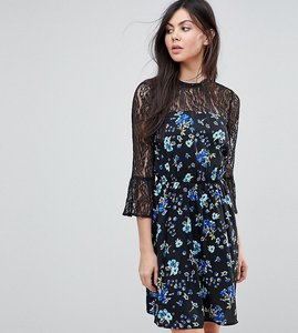 Read more about Influence tall lace yoke and sleeve floral skater dress - black floral