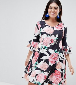 Read more about Lovedrobe floral swing dress with bell sleeve - multi