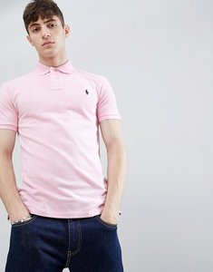 Read more about Polo ralph lauren slim fit pique polo player logo in light pink - bath pink