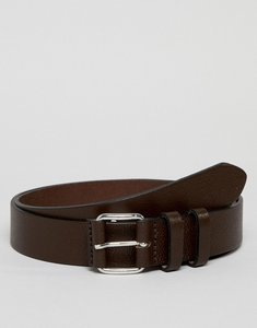 Read more about Asos design smart leather slim belt in brown pebble grain and roller buckle - brown