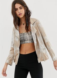 Read more about Native rose festival relaxed biker jacket in premium metallic faux leather with tassels - liquid pea